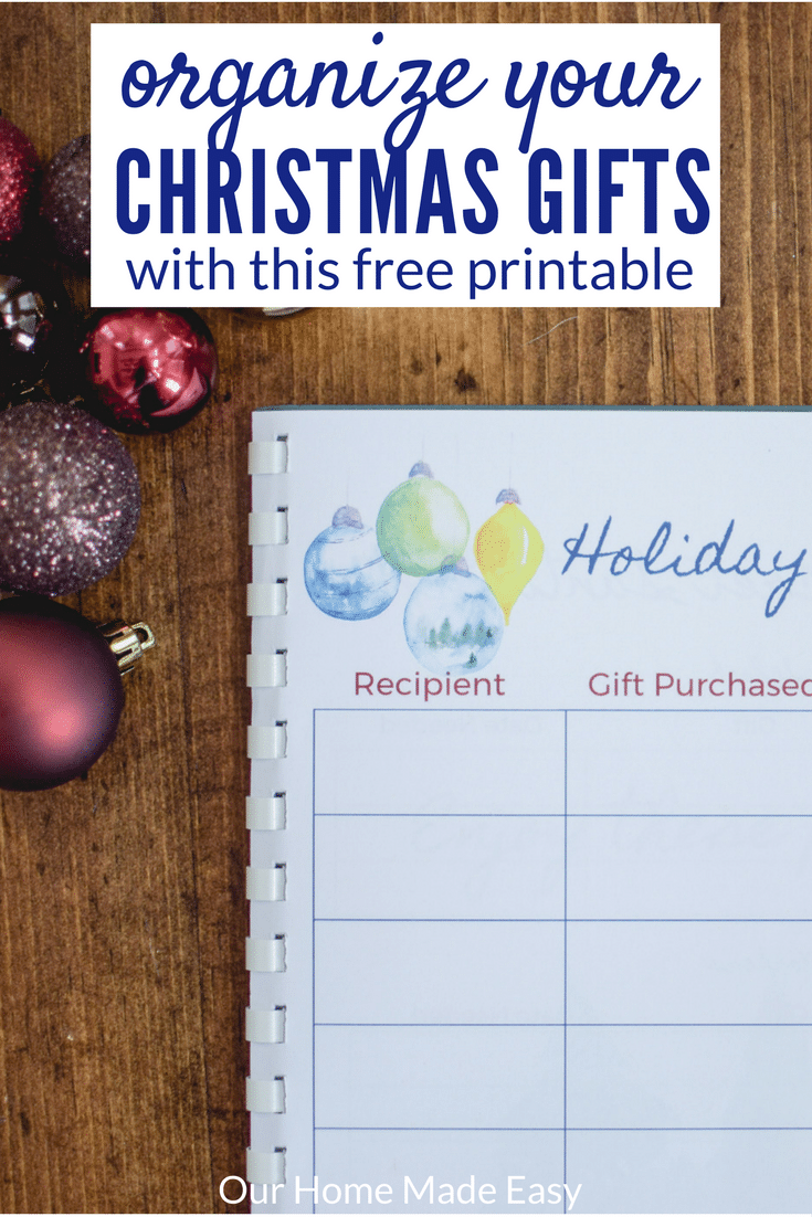This free printable is perfect for how to organize your gifts this year! You'll never forget a gift bought for someone again. Download it today!