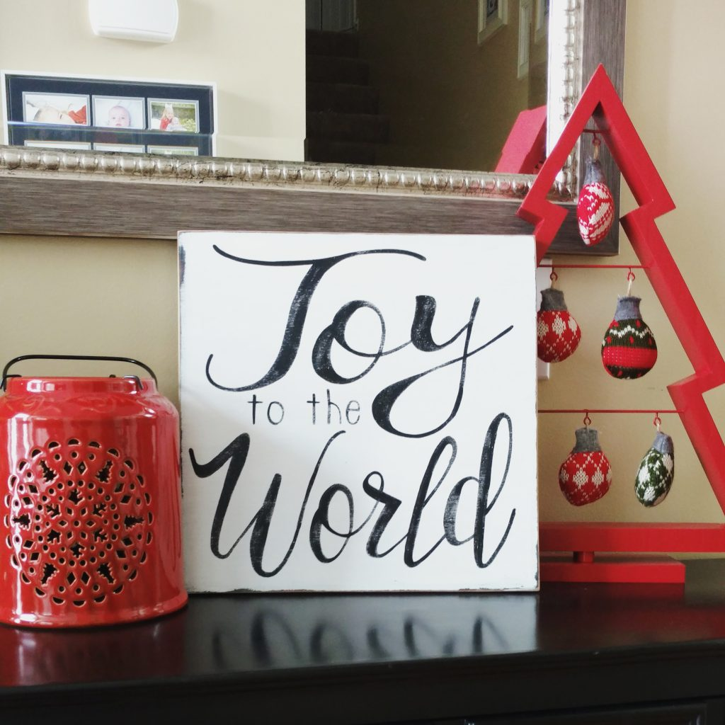 Wood Joy to the World Sign