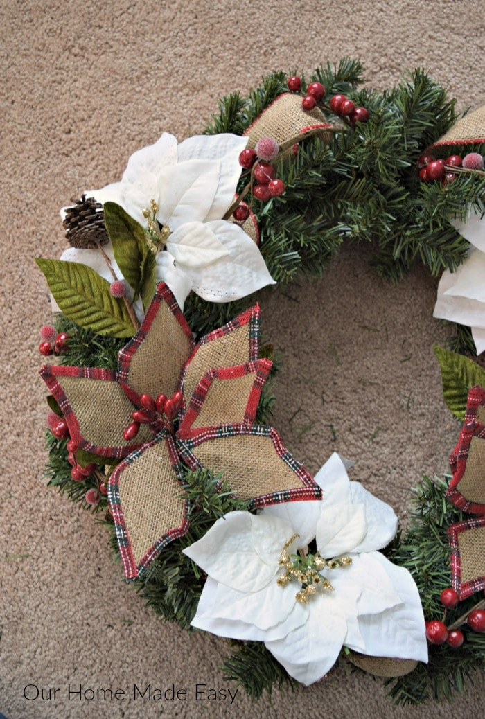 Add the floral picks to your Christmas wreath