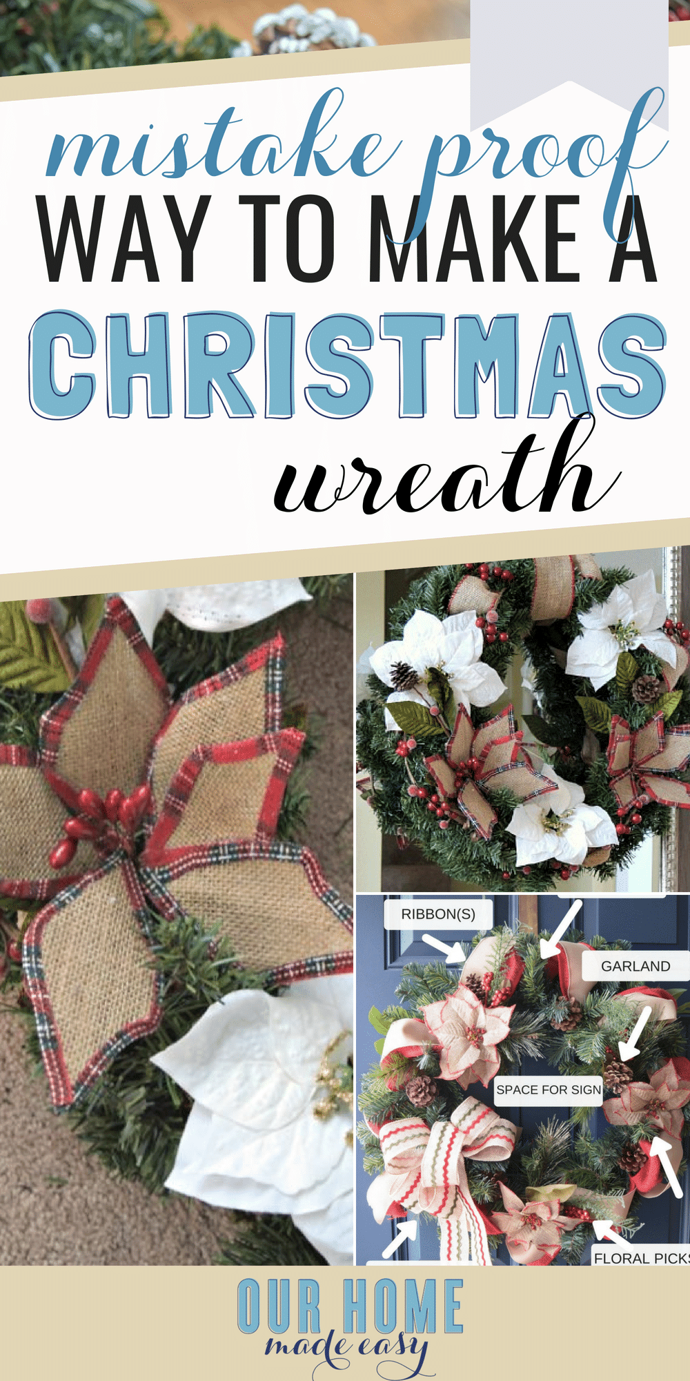 Make this pretty Christmas wreath with this simple formula! Now you can have a Pinterest inspired wreath easily (and its mistake proof)! #Chrismas #home #wreath #homedecor
