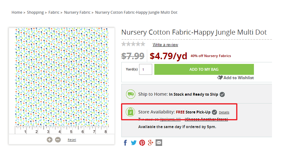 Save time and waiting in line by choosing your fabric online and picking it up at the registers. Mom Hack!