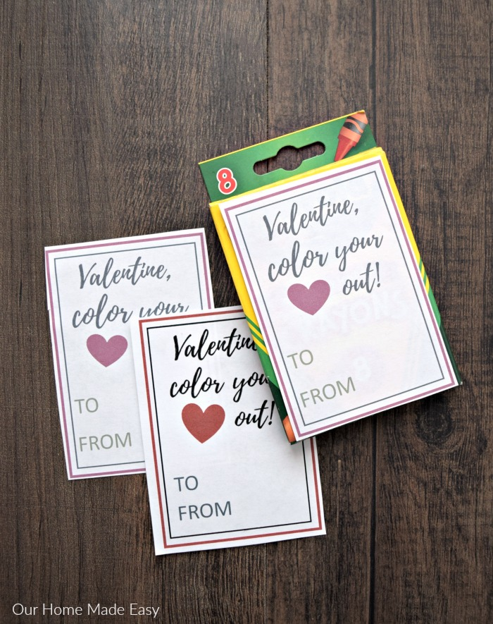 An easy non candy valentine for kids! Crayon box printable