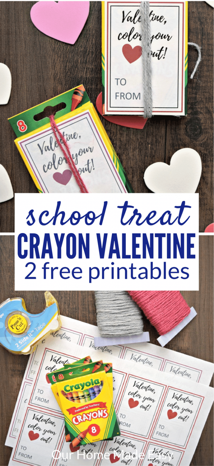 This crayon box valentine is perfect for school. Download the free printables and you can quickly make a classroom of valentine's --- without candy! #valentinesday #schoolvalentine