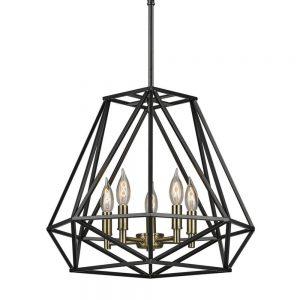 industrial geometric globe foyer chandelier