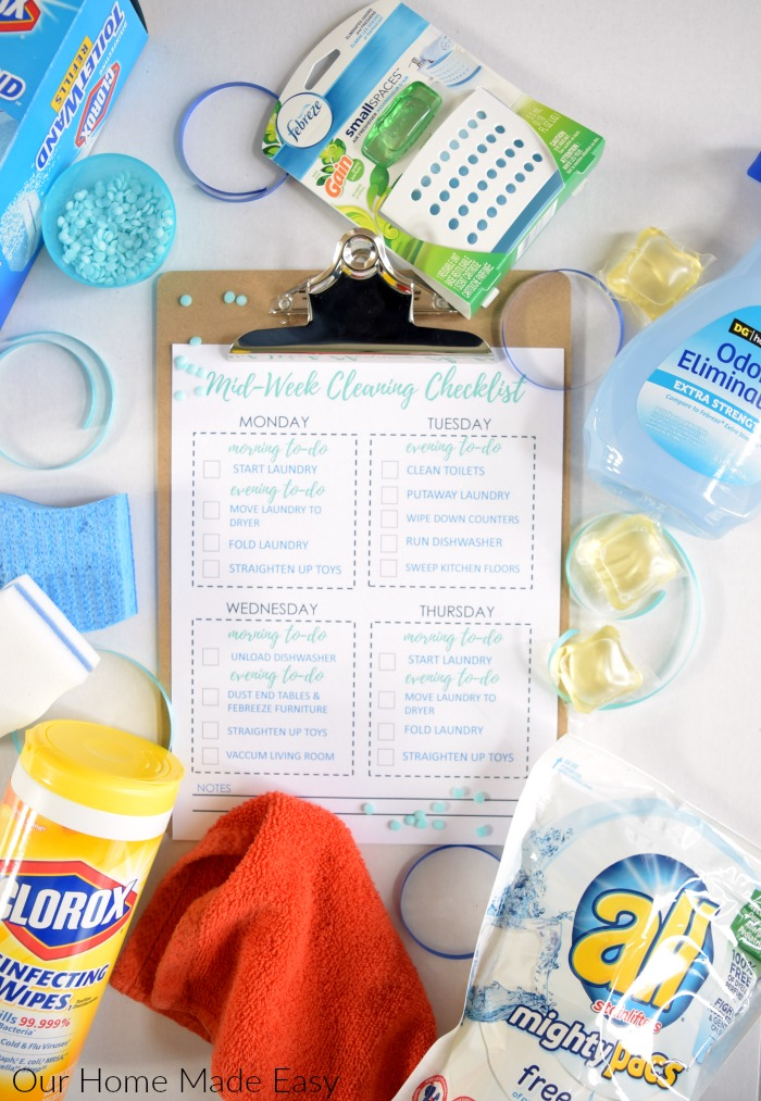 Keep your home clean during the week is super easy! Click to see tips and receive a free checklist!