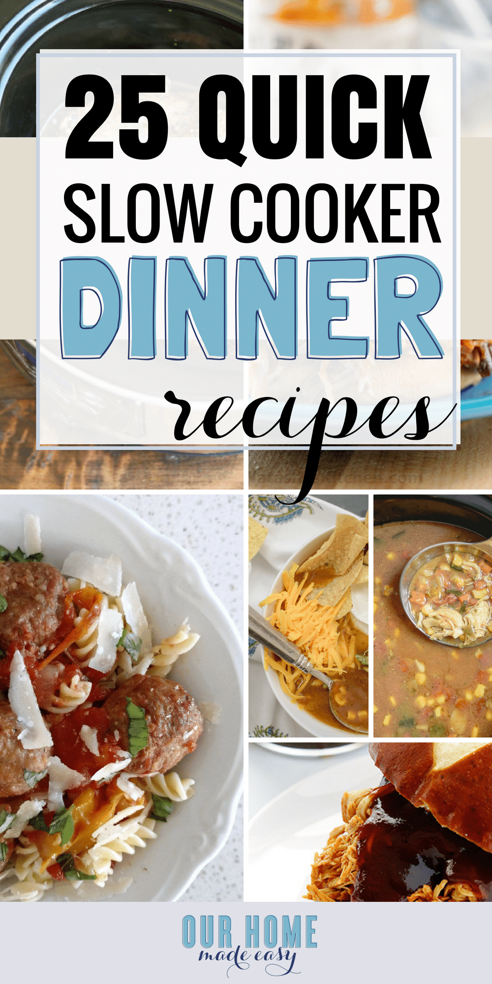 Here are more than 25 easy slow cooker recipes for dinner! They are perfect for making during the week. Set and forget them until dinnertime! Click to see them all! #dinner #slowcooker #crockpot #fall