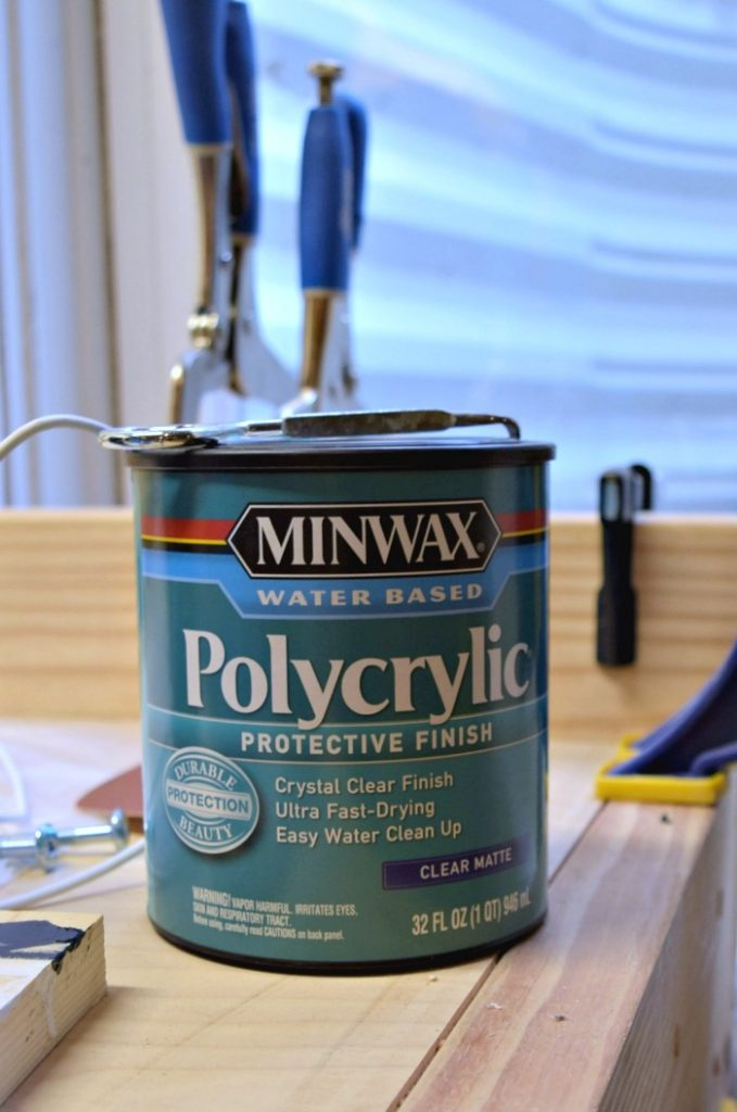 We used this polycrylic protective finish to seal the finish of the step stools