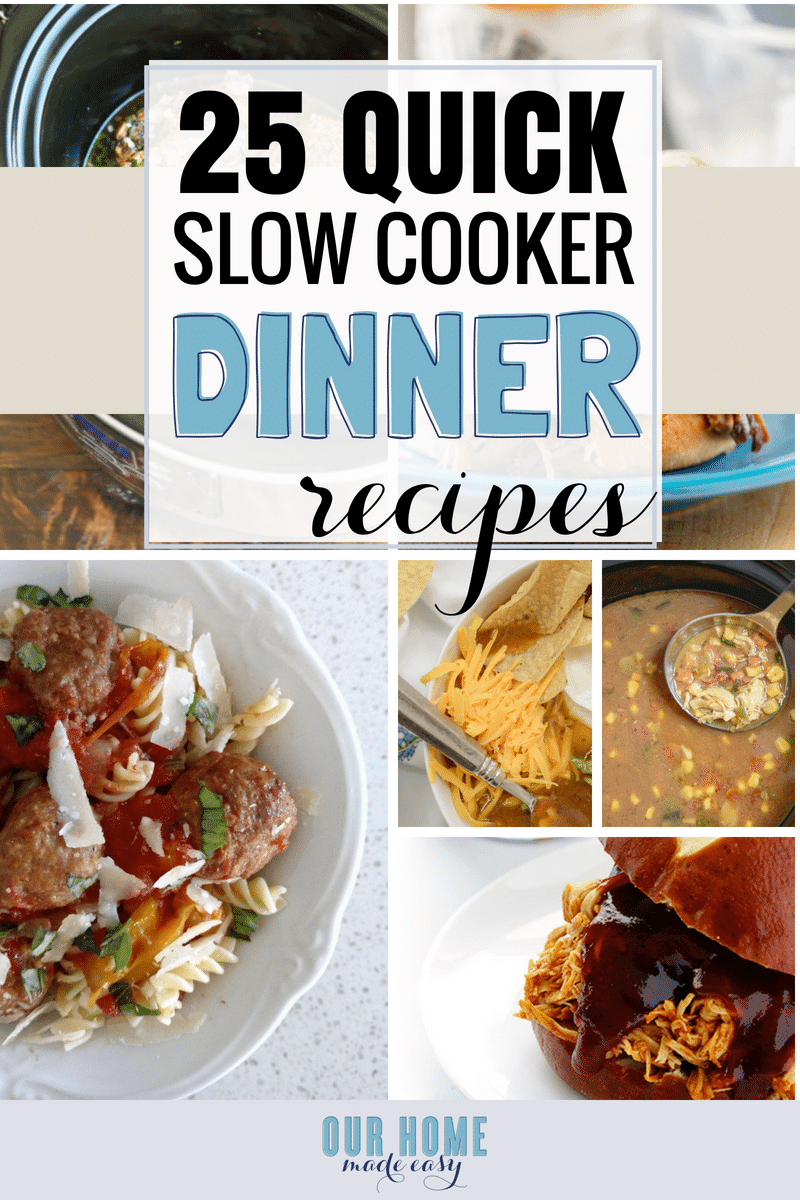 Here are more than 25 easy slow cooker recipes for dinner! They are perfect for making during the week. Set and forget them until dinnertime! Click to see them all!