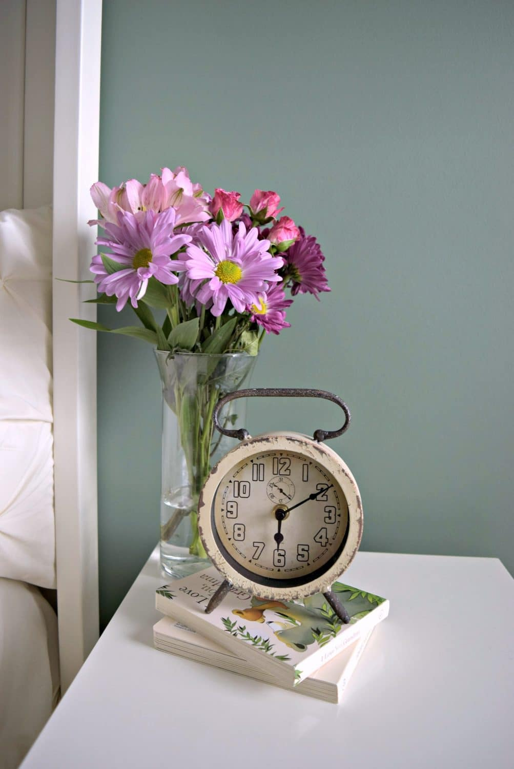 Nightstand Flowers and Clock