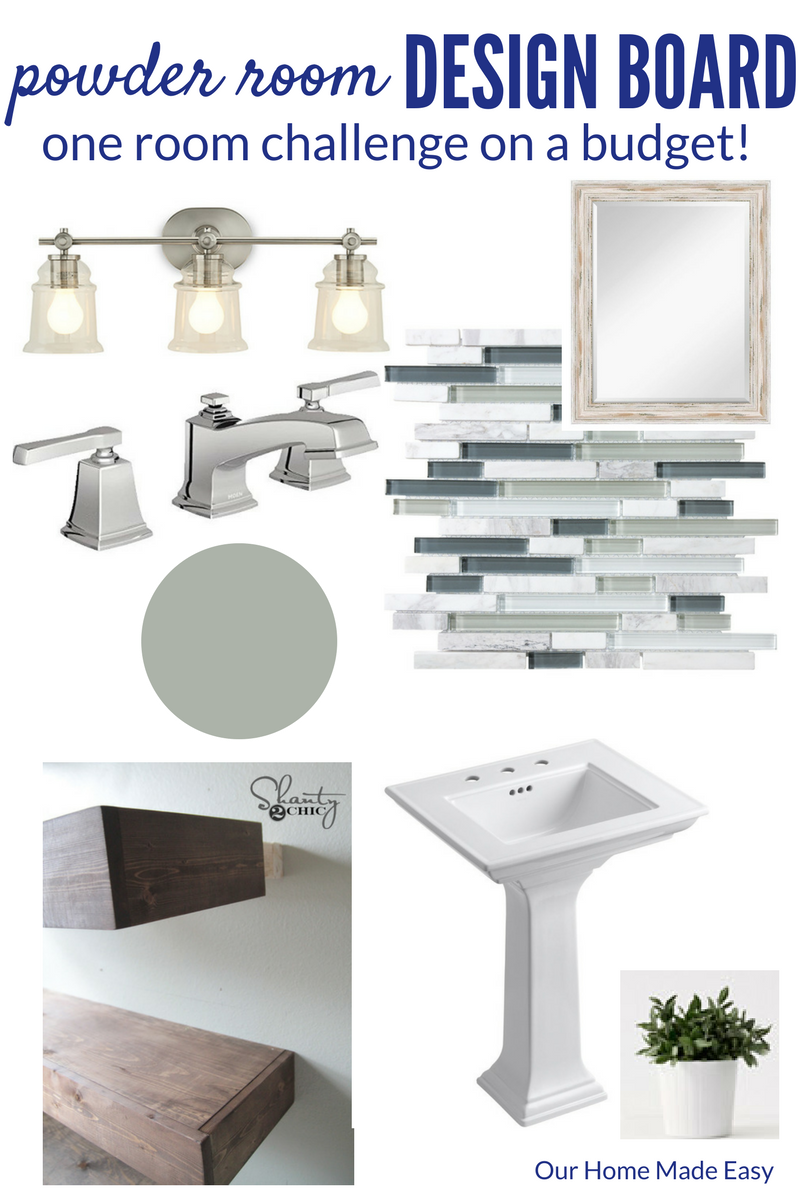our powder room makeover design board and inspiration