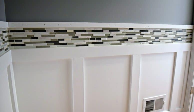 Painting Bathroom Tile Board adding accent mosaic tile & painting the walls [orc week 4] - our