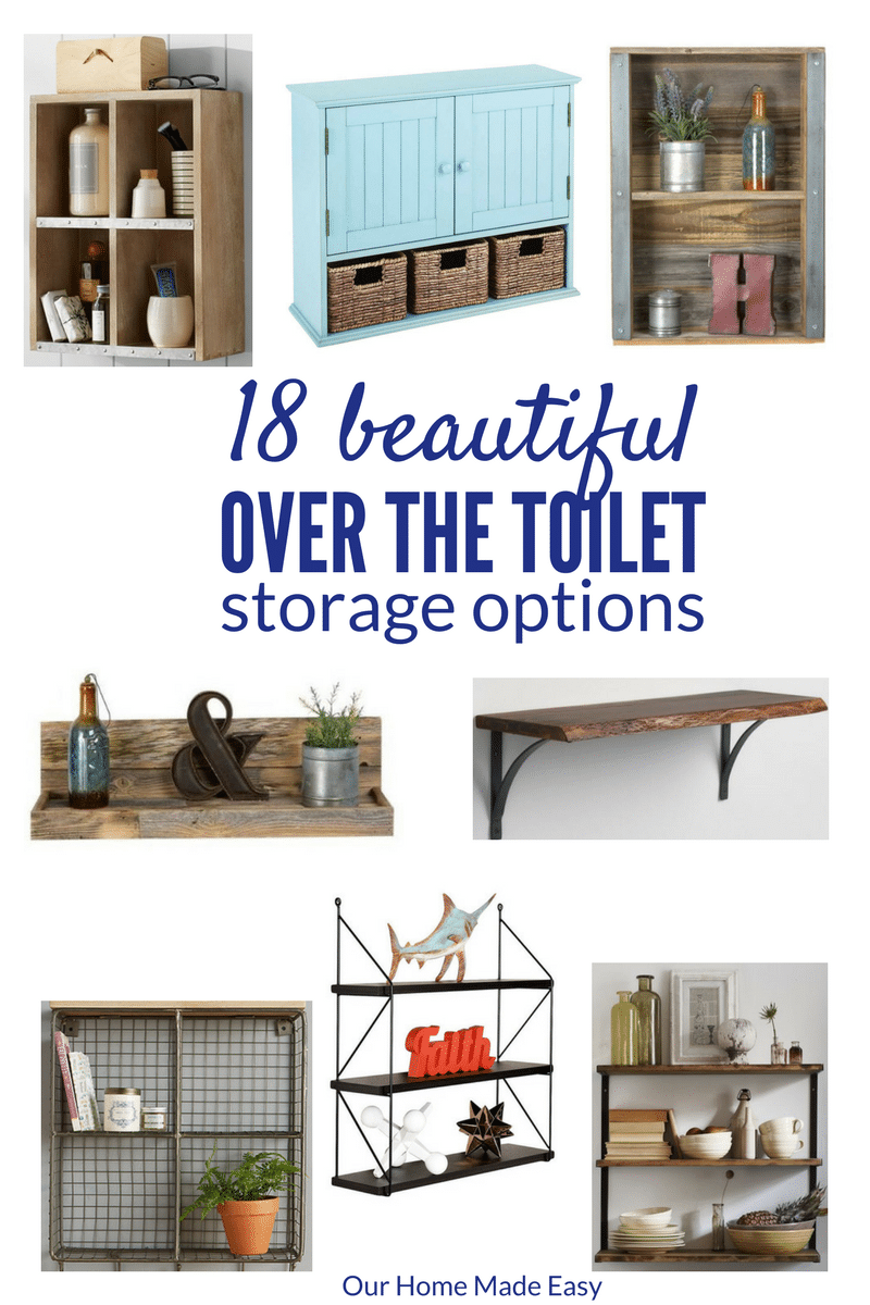 Have you ever wanted to add some personality to over the toilet storage? Here are 18 ideas to add stylish decor and functionality! Click to see them!