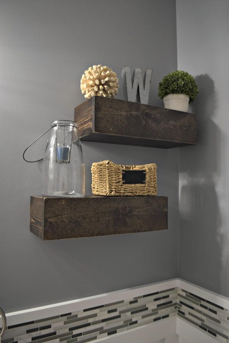 DIY floating shelves for our new powder room