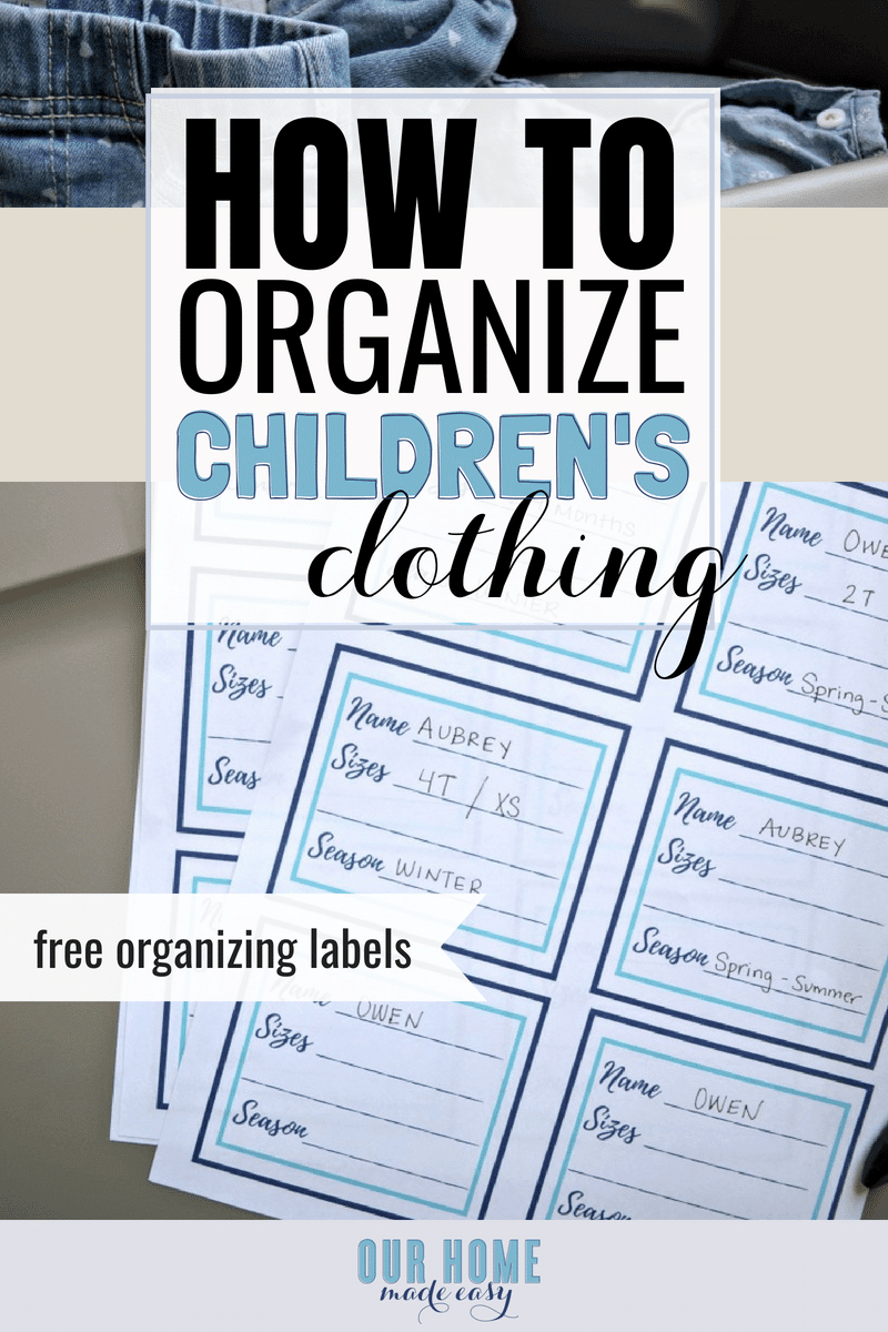 How to organize children's clothing - free organizing labels
