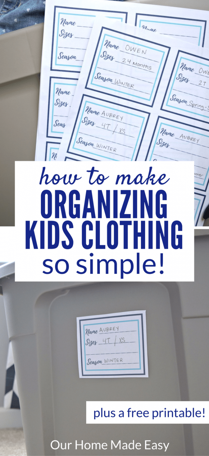 Have you ever wondered how to stay on top of organizing kids clothing? Here is a simple system to keep yourself on track and a free printable!
