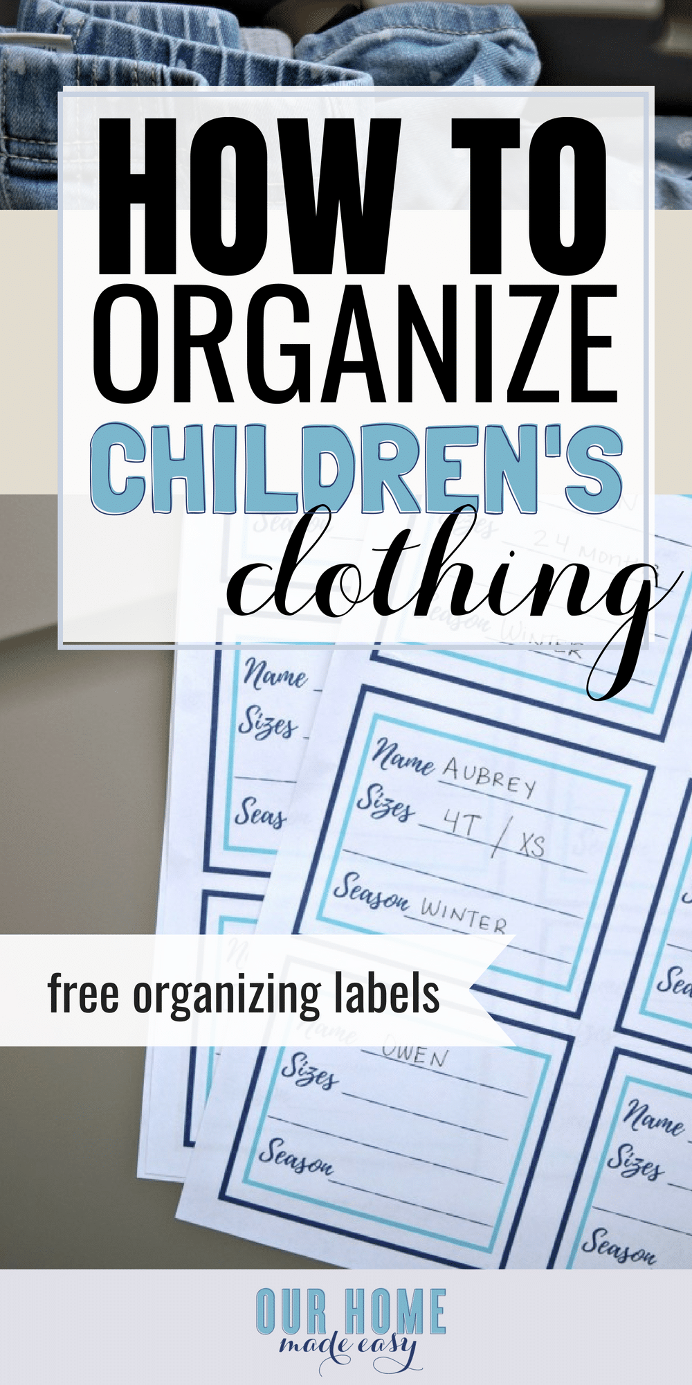 This is the easiest way to organize kids clothing! Grab the free printable label to start getting organized today! #organization #kids #clothing #getorganized