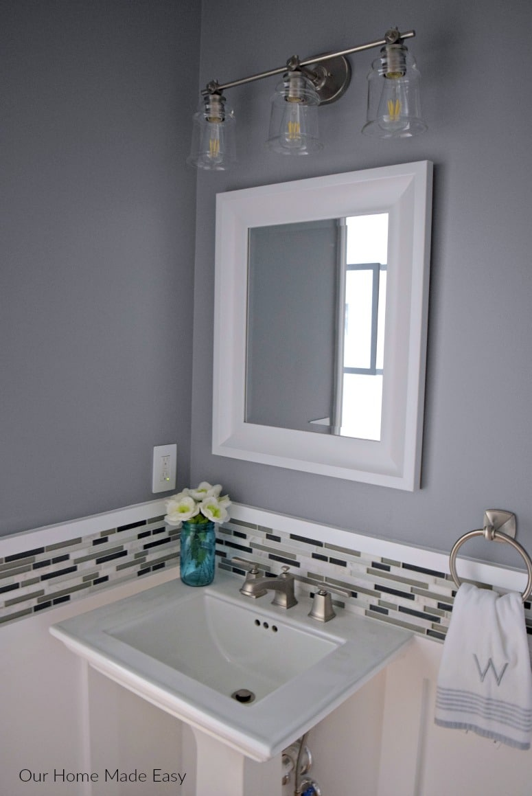 New sink and vanity in the newly madeover pwoder room