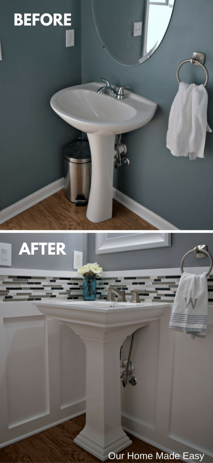 Before and after our DIY budget powder room makeover