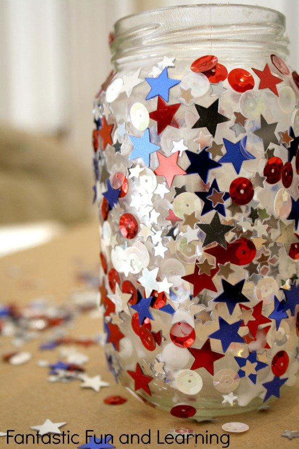 this colorful candle jar is red, white, and blue, which is perfect for the 4th of July holiday