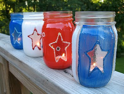 these 4th of july candle jars are crafts the kids will love to help with