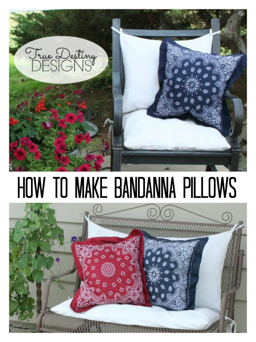 turn old bandanas into patriotic throw pillows with this easy tutorial