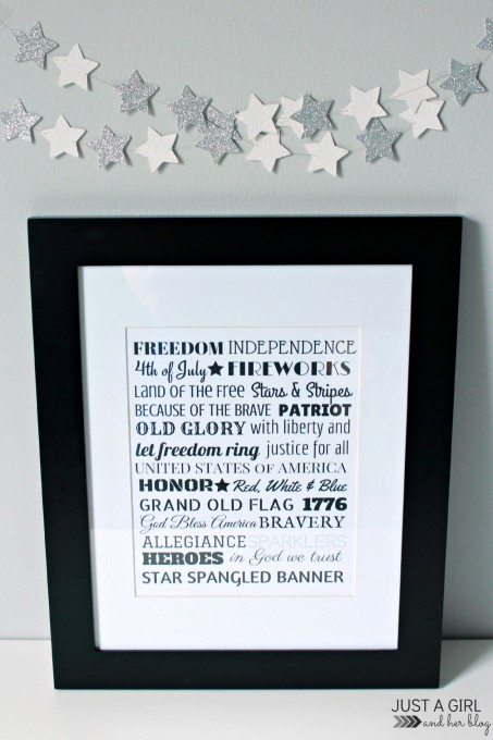 this 4th of july themed print is an easy DIY project