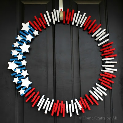 this flag wreath is the perfect way to bring a patriotic touch to your front door