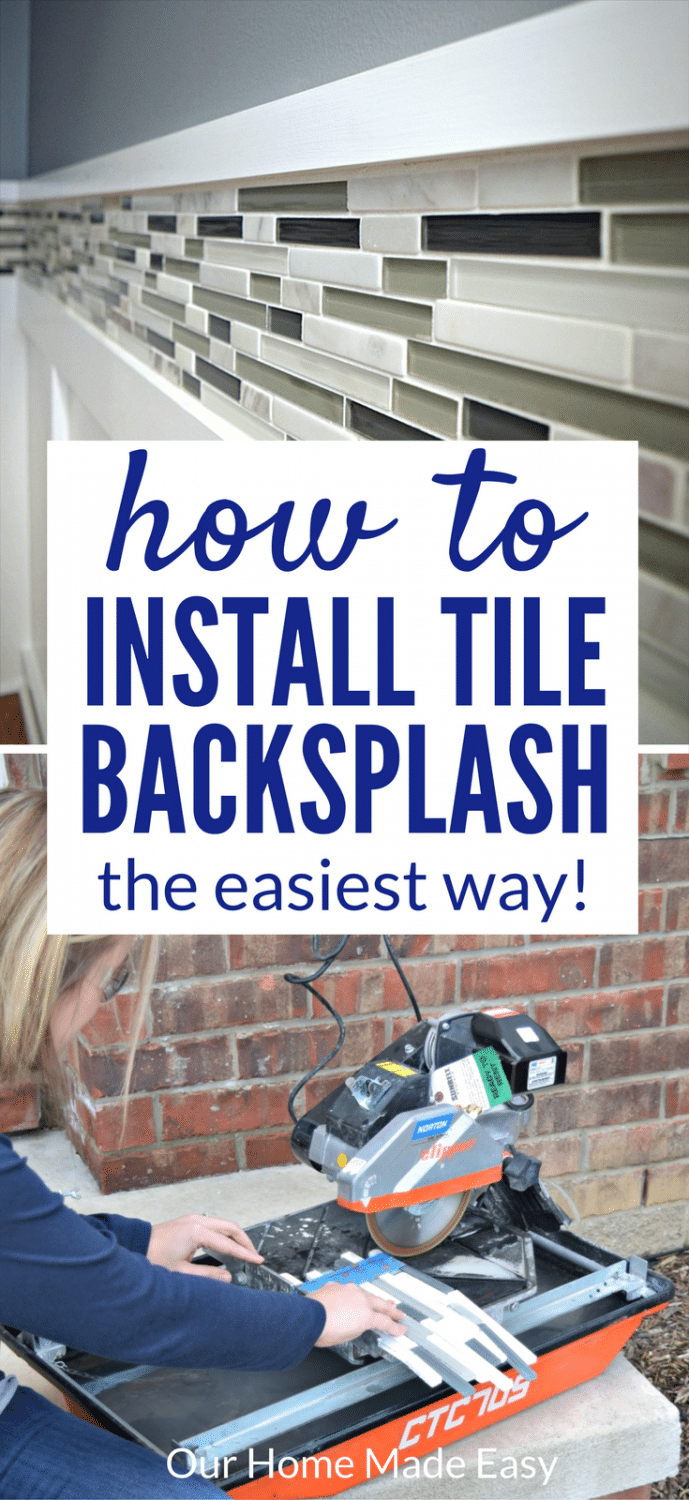 Here is a tutorial on how to install a tile backsplash even if you've never done it before! Use these easy tips to add beautiful tile work to your home. #tile #backsplash
