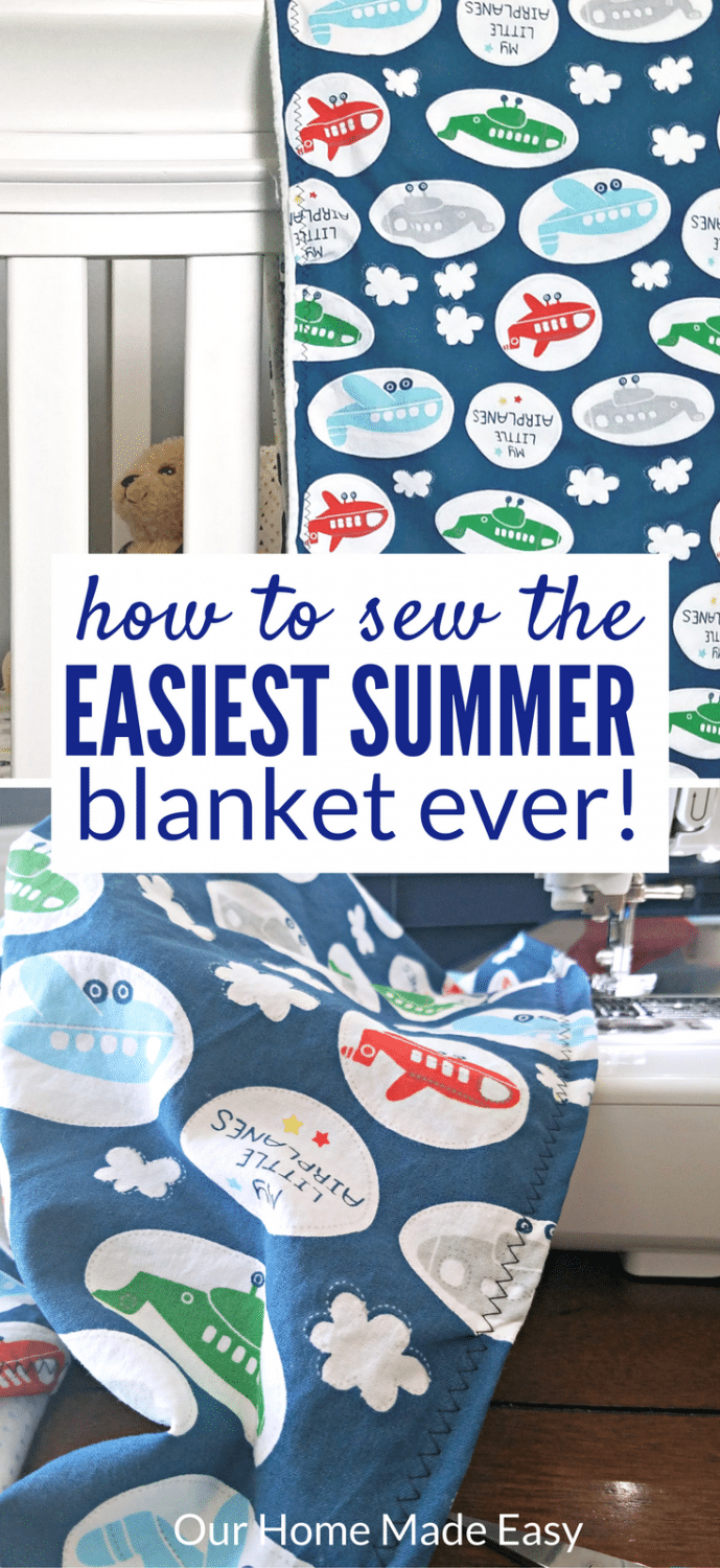 This is the perfect beginner sewing project! Make this light summer blanket in about 30 minutes! Click to see the steps and tricks to make it easy!