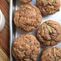 Easy 4 Ingredient Zucchini Walnut Muffins