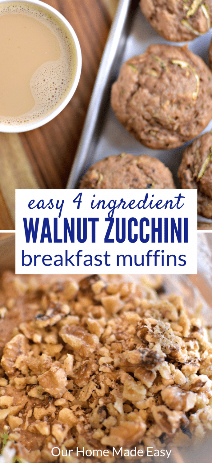 Make an easy fall breakfast zucchini walnut muffins with only 4 ingredients! They pair perfectly with the Starbucks® Pumpkin Spice Caffè Latte K-Cup® pod. #shop