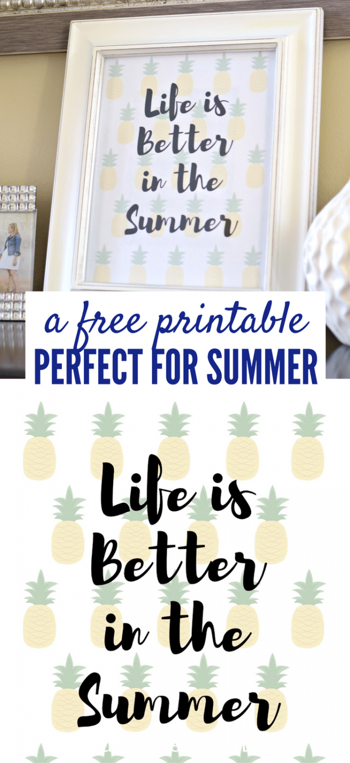 This cute pineapple printable is free to download and comes in 2 different sizes! Simply print it off and add some cheer to your home! Click to get it!