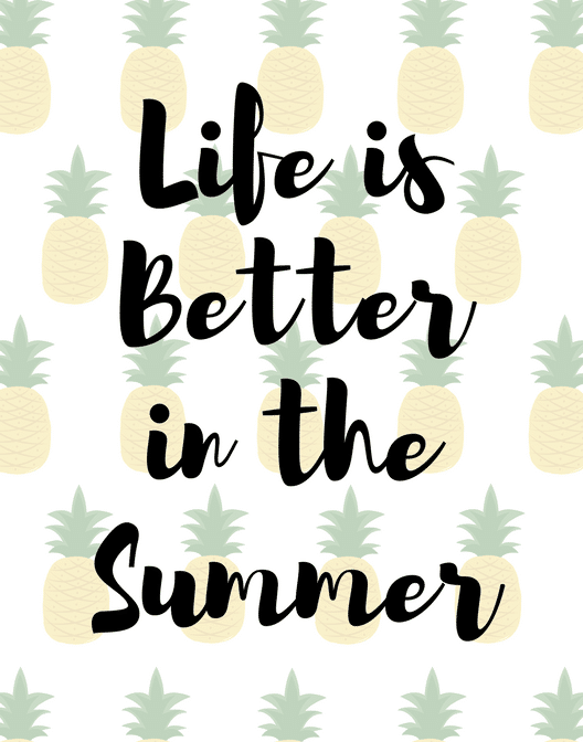 A cute summer pineapple printable for summertime. Download for free!