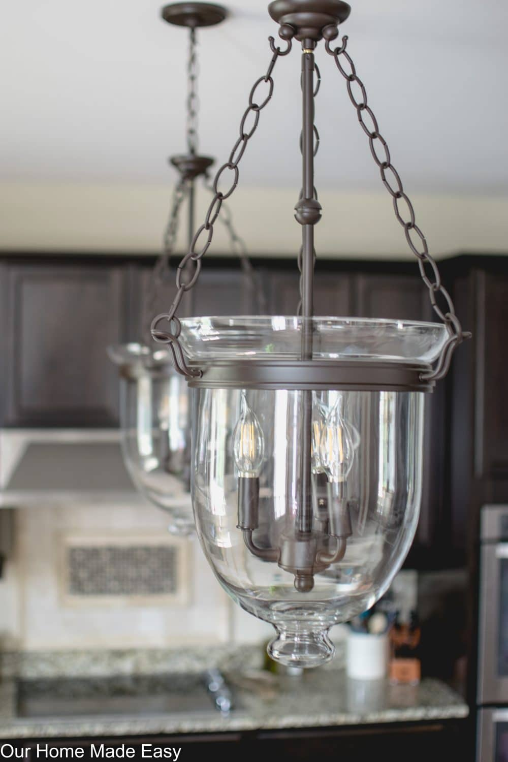 This is a cheaper version of the Pottery Barn Hundi. It's perfect for a kitchen island pendant.