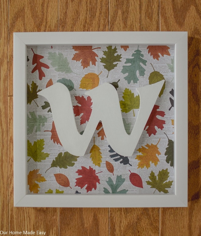 1-Hour Fall Craft Ideas: this Fall monogrammed shadow box is an easy DIY you can use year after year