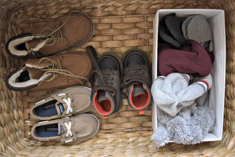 Having a catch-all basket for items like shoes, hats, and gloves makes sure nothing gets lost