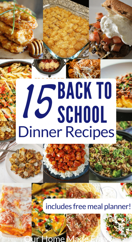 Here are 15 easy back to school dinner recipes! They also include a free meal planner to get your year on a good start! Click to see all 15 recipes!
