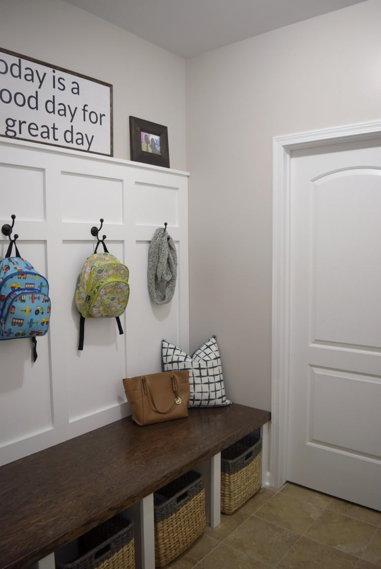 Built-in cubbies and a bench added much-needed small space storage to our mudroom