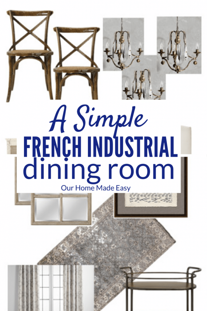 A simple French inspired dining room design! Click to see the natural wood classics with a touch of industrial design. Easy to create yourself!