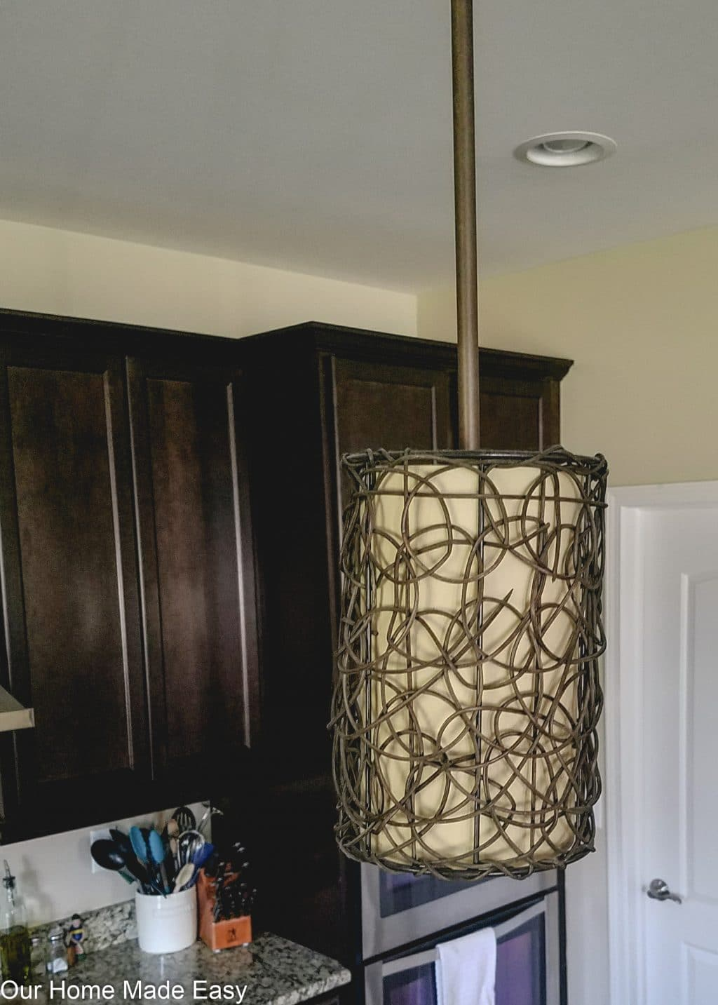 This dark and sharp kitchen island pendant lighting didn't give us enough light