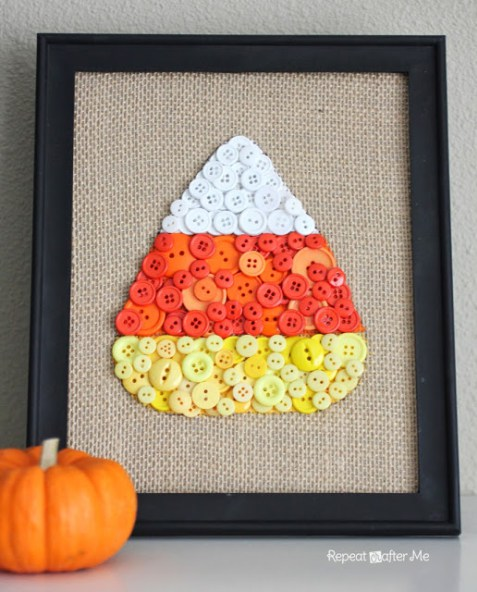 1-Hour Fall Craft Ideas: This cute button candy corn art is a fun and creative DIY for your fall decor