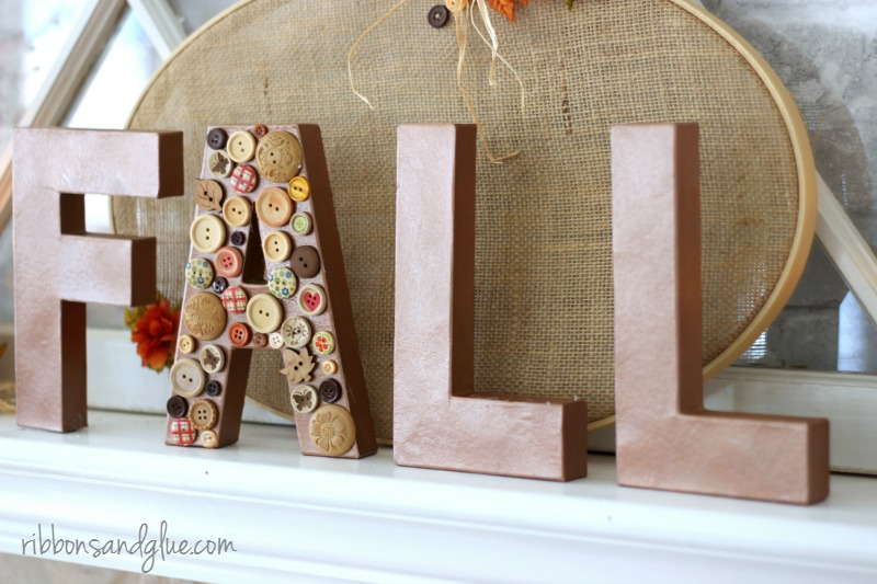 1-Hour Fall Craft Ideas: Add some mixed-matched buttons to some wood letters to create this fun FALL wood mantel sign