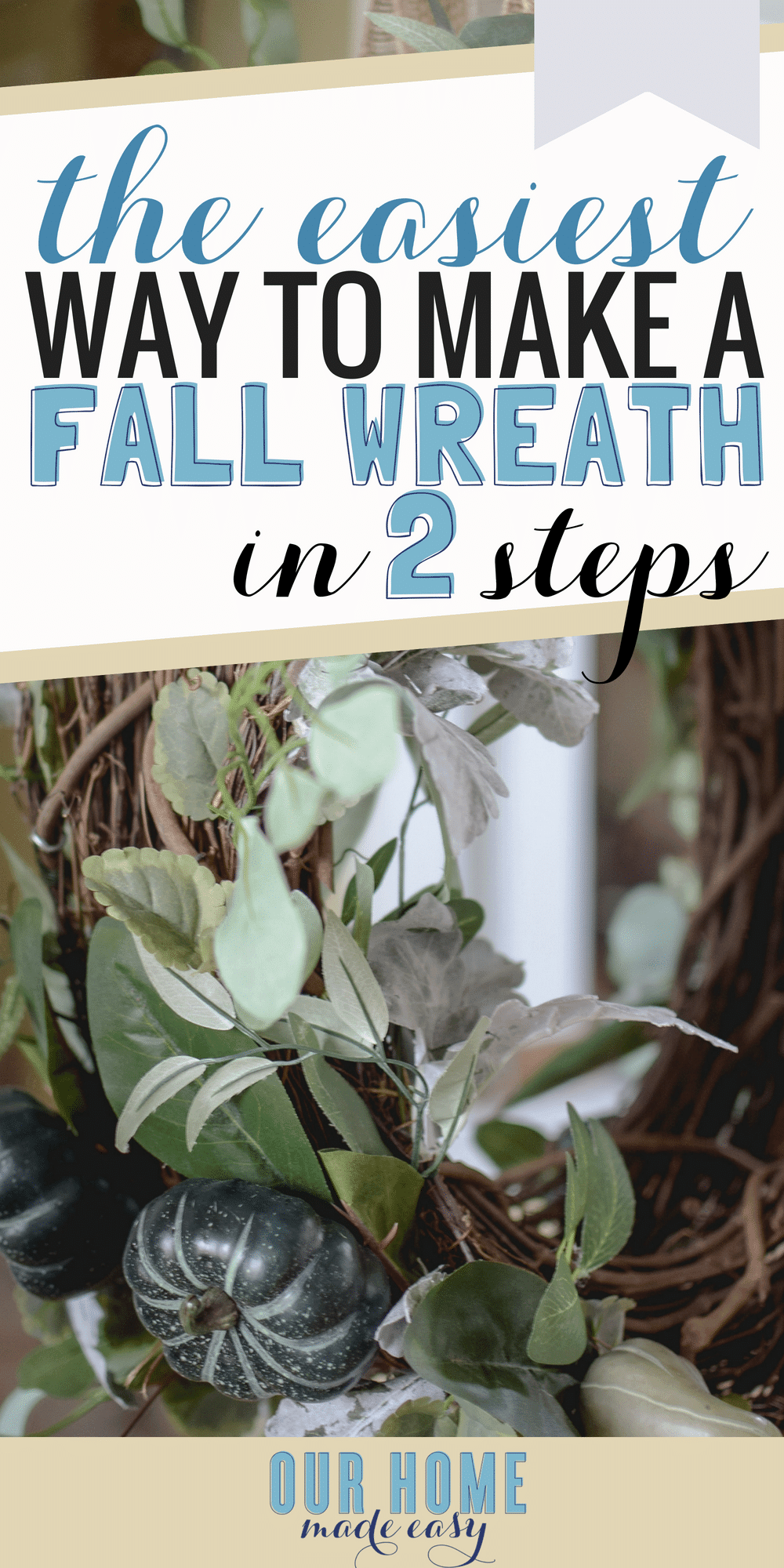 Here is an easy fall wreath DIY tutorial and a tour of our entryway decorated for fall. Check out the easy DIY and how to add charm to your home, quickly! #fall #crafts #wreaths #home #falldecor