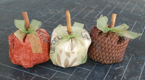 1-Hour Fall Craft Ideas: These mini fabric pumpkins are perfect decor accents for around the house