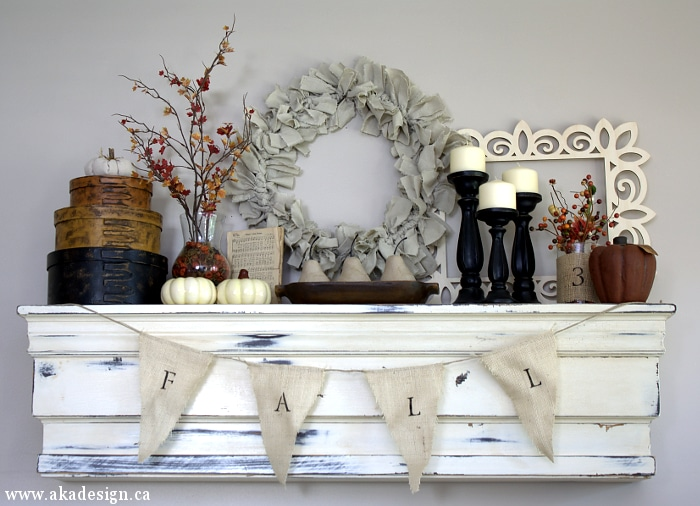 1-Hour Fall Craft Ideas: This DIY fabric fall banner is great for fall mantel decor
