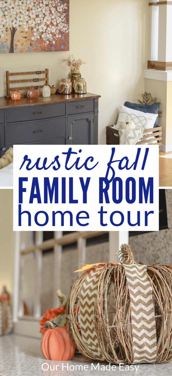 Fall Family Room | OurHomeMadeEasy.com  Click to see the simple and fun way to add fall decor to the house!