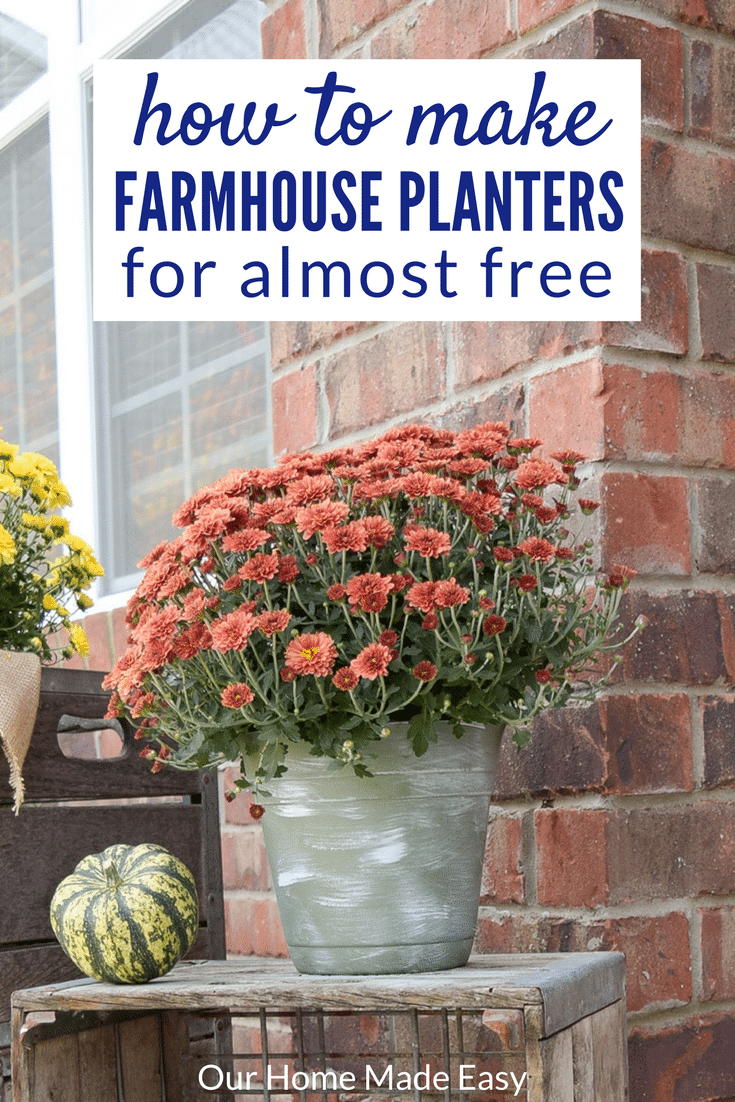 This tutorial shows you how to take normal, store-bought planters and turn them into farmhouse style decor that's perfect for your front porch