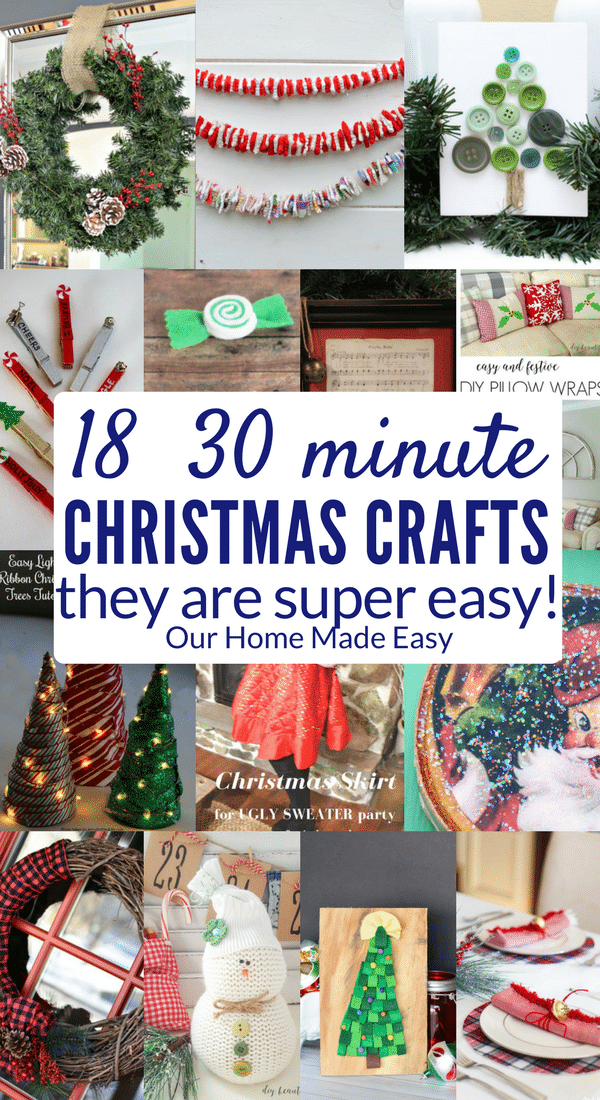 Easy Christmas Crafts to make today without a ton of work! Click to see all 18 projects! #Christmas #crafts