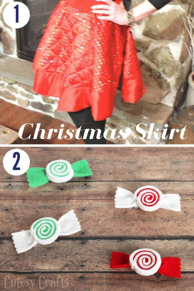 A christmas skirt and mint candy pins are adorable, wearable christmas crafts