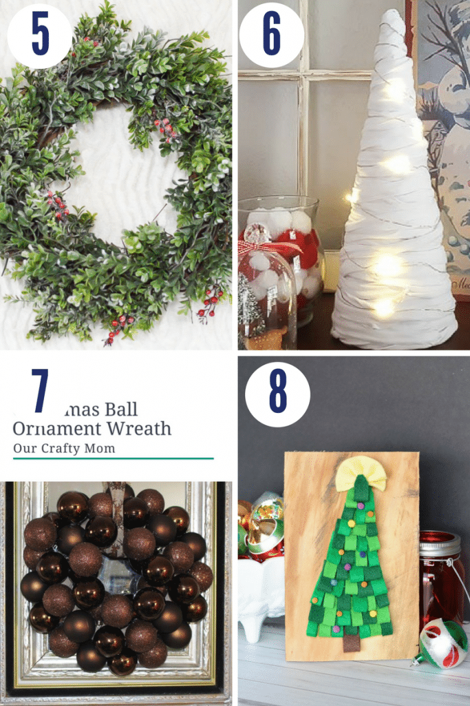 These easy Christmas crafts include wreaths and Christmas tree decor